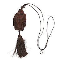 Carved Traveling Happy Buddha Figurine Pendant Necklace Amulet