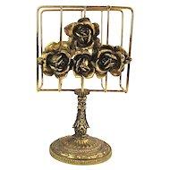 Matson Hollywood Regency c1950s 24K Gold Ormolu Roses - Letter Napkin Towel Holder