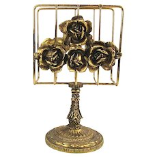 Matson Hollywood Regency c1950s 24K Gold Ormolu Roses - Letter Napkin Towel Holder