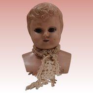 Early Celluloid Shoulder Head Doll, Glass Eyes. A/F