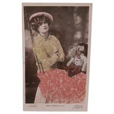 Wonderful Early  Postcard, Rare Golliwogg, Golly and Miss Gabrielle Ray