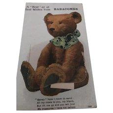 Early Postcard 1920, Teddy Bear, Opens To Show Baracombe, Torquay