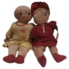 Rare  Well Loved Pair Of Vollands called Shoe Button Sue , Cloth Twin Dolls, All Original , 1920