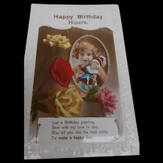 Vintage Boudoir Doll, Bed Doll  Postcard, Birthday Wishes.