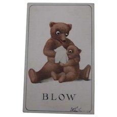 Early Postcard Mummy and Baby Teddy Bear 1910
