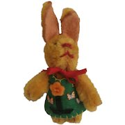Darling Vintage Miniature Schuco Rabbit Wearing Felt Outfit