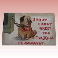 Early Christmas Bull Dog Pug Postcard