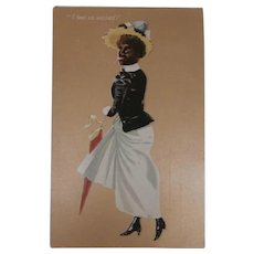 Amazing  Early Postcard, Black Lady Smoking  'I Feel So Wicked', 1905 to 1910