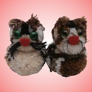 Pair of Vintage Woolen Cats