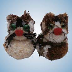 Pair of Vintage Woolen Cats