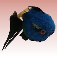 Steiff Blue Wool Coral  Fish 1968 to 1977, Steiff Button