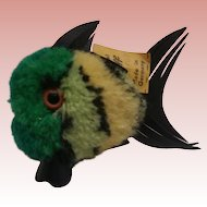 Steiff Green  Wool Coral Fish, Steiff Button and Yellow Flag