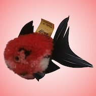 Steiff Red Coral Wool Fish, Steiff Button and Yellow Flag 1968 to 1977