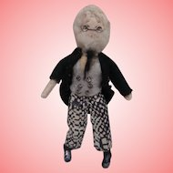 English Miniature Vintage  Grecon Grandad Dolls House Man, Label