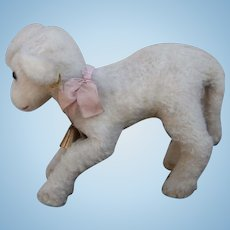 Steiff Larger  Lamby Lamb, 1959 to 1964, Steiff Button and Steiff Chest Tag, Working Squeaker