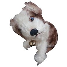 Rare Smallest Size Molly Dog , Steiff Button  Early Number 3310, 1949 to 1958