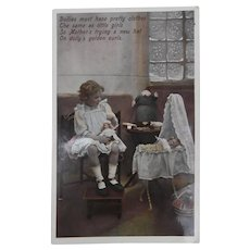Early Postcard Showing Steiff  Cook Coffee Cosy,Peg Doll and Bisque Dolls