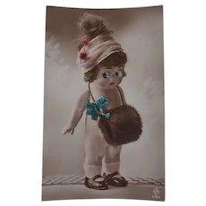 Cute Glass Eyed Doll Early  Postcard