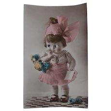 Cute Glass Eyed Doll Early  Postcard A/F