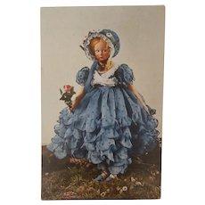 Wonderful  Rare Vintage  Lenci  Boudoir, Bed Doll , Lady Postcard