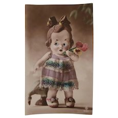 Cute Glass Eyed Doll Early Postcard