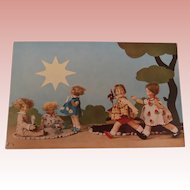 Wonderful  Rare  Lenci Children , 1930's Postcard A/F