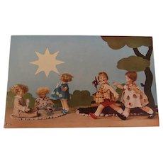 Wonderful  Rare  Lenci Children , 1930's Postcard
