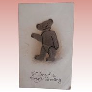 Early Teddy Bear Postcard, Cloth Teddy