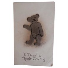 Early Teddy Bear Postcard, Cloth Teddy