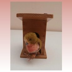 Gorgeous Vintage Steiff Birdhouse with Woolen Bird, Steiff Button