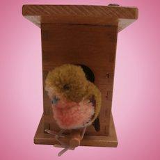 Gorgeous Vintage Steiff Birdhouse with Woolen Bird, Steiff Button