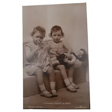 Rare Real Photo Postcard Princesses of Norway with Lenci 300 Series Boy Doll