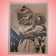 Sweet Vintage Postcard, Girl with Googly Cloth Doll