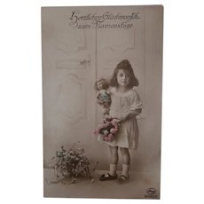 Vintage Postcard Girl with Lenci Doll