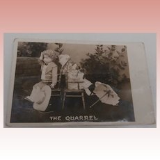 Early Postcard' The Quarrel' Two Bisque Dolls