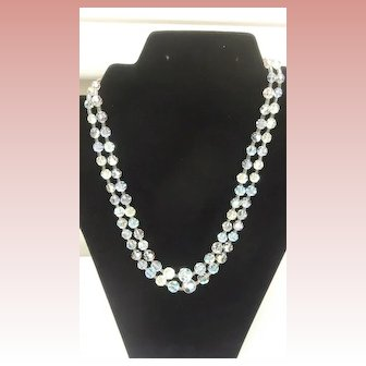 Vintage Crystal Double Strand Bead  Necklace