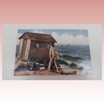 Early  Postcard Peg Wooden Doll  'Peeping Tom'