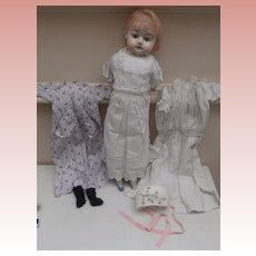 Gertrude, Early Papier Mache Doll with Extra Clothes A/F