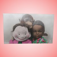 Fabulous Postcard, Steiff Max Doll, Jocko Monkey, Black  Cloth Doll 1924