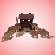 Vintage Primitive Noah's Ark, Noah and 16 Animals