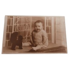 Real Photo Postcard, Child with Lucky Black Cat
