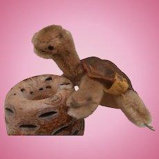 Steiff Slo Tortoise  / Turtle ,  1965 to 1967, Steiff Button and Yellow Flag