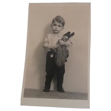 Early  Real Photo Postcard ,, Holding PJ Doll