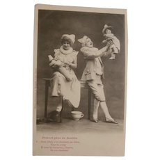 Early French Postcard with Pierrot Family and French Doll