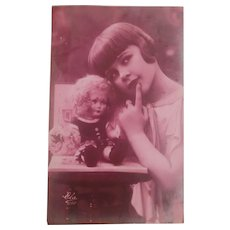 Real Photo Postcard with Girl and Her Cloth Doll 1931