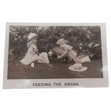 Early Postcard  'Feeding The Swans' Bisque Dolls