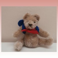Sweet Steiff Original Miniature Flexible Teddy Bear, Steiff Button