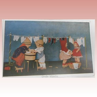 Kathe Kruse Dolls 1930's Postcard, Washing Day