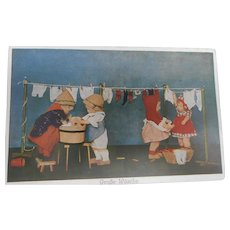 Kathe Kruse Dolls 1930's Postcard, Washing Day