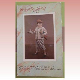 Early Postcard, Boy with Cloth Doll 1910